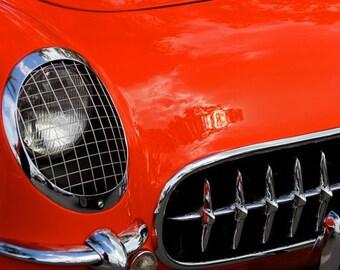 1955 Corvette, Red, 8x12 Fine Art Print, Chevrolet, Vette, Screen,