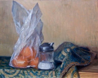 """An original oil painting of a sugar shaker and mandarin oranges wrapped in cellophane. Oil on copper 9"""" x12"""""""