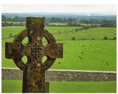 Celtic Cross Photograph Ireland-Irish celtic cross at Rock of Cashel- Ancient 8 x 10  Celtic Cross Photo, Green of Ireland lancscape