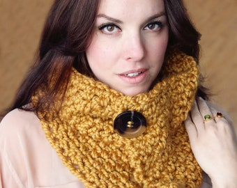 Cowl Easy CROCHET PATTERN Chunky Scarf  Wrap Beginner Cowl Crochet Pattern The BROOKLYN