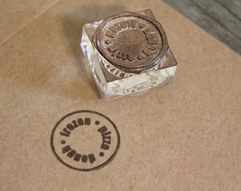 Custom Rubber Stamp - 0.5 Inches tall with proportional width + WOOD on WOOD Handle