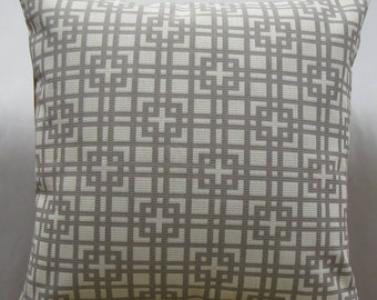 """Contemporary decorative pillow cover in 24 """"x 24"""" Ikat pattern pewter and white color, poly-cotton fabric ,gorgeous throw pillow"""