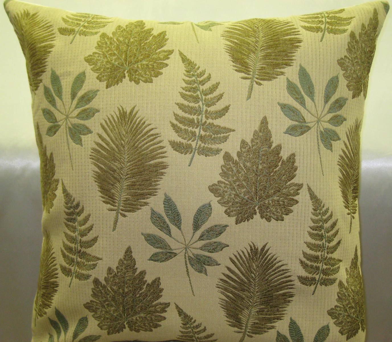 Spring green leaves pattern decorative pillow