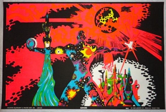 VINTAGE 1970 Houston BlackLight Poster Co SATURN