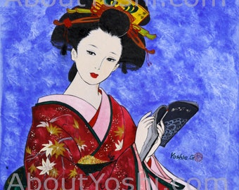 "Japanese Art -  Geisha ""Reading""  11 x 14 watercolor on cotton paper."