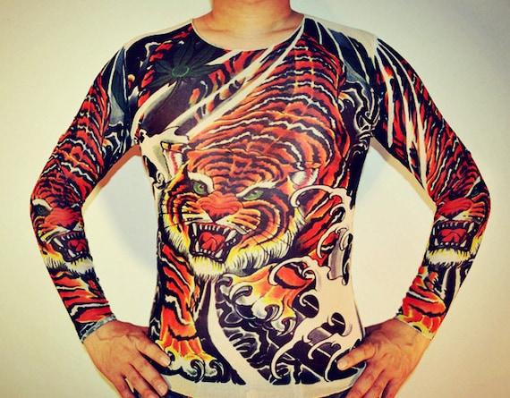 Tatouage yakuza japonais t shirt tigre t shirt longues manches - Tatouage tigre japonais ...
