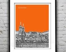 Lucerne Switzerland Skyline Poster Church Art Print