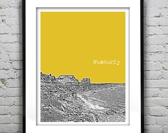 1 Day Only Sale 10% Off - Westerly Rhode Island Skyline Poster Art Print Original