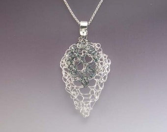 Knit Fine Silver Leaf Lace Necklace Medium with Small