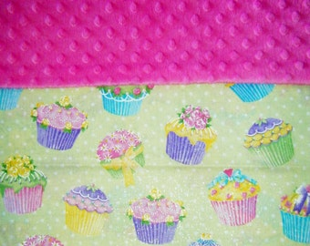 Nap Mat Cover / Toddler Sleeping Cot Cover with Padded Minky Dot Headrest - Glitter Cupcakes