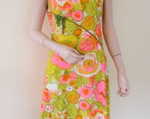 SOLD - Vintage 60's Floral Hot Pink Orange Yellow Green Textured Cotton Dress w Bow