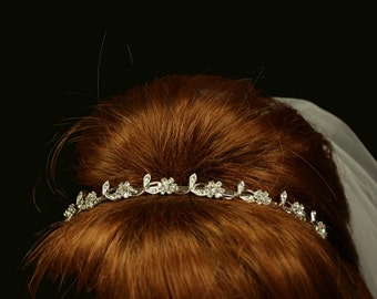 Rita Bridal Tiara - Bohemian Rhinestones - Bridal Silver Hairband - Wedding Tiara - Bridal Headpiece - Crystal Tiara - Simple Tiara