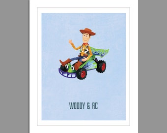 Digital Download Toy Story Woody RC Car Poster Art Nursery Art Print, Toy Story Nursery Art Boys Room - 8x10 or 11x14