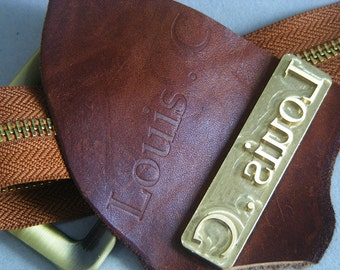 Initials custom on the leather with your initials emboss in the leather by tooling with your name Concave