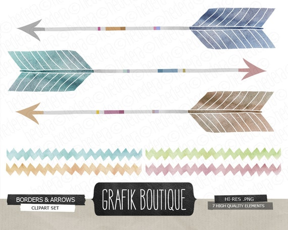 Arrows Chevron hand painted watercolor clip art by GrafikBoutique