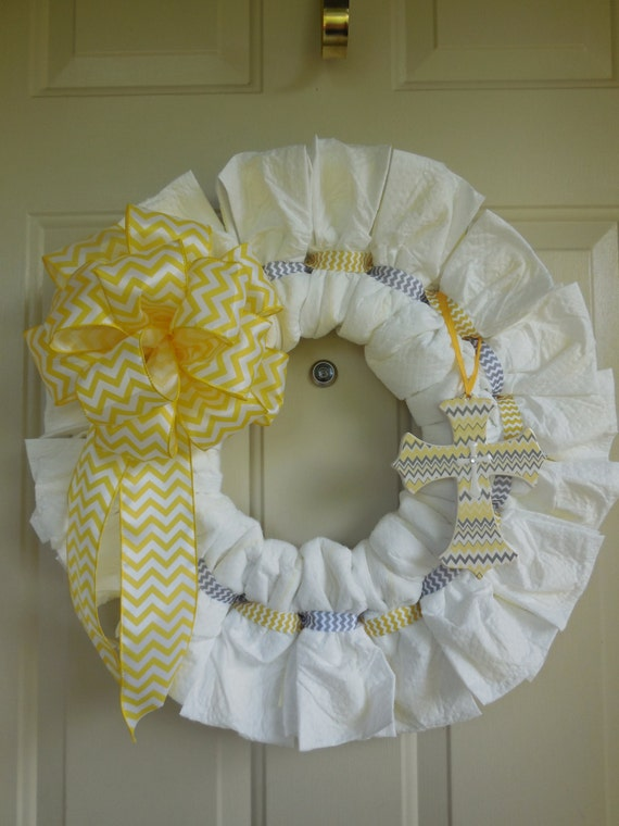 Yellow And Grey Chevron Baby Boy Or Girl Diaper Wreath With