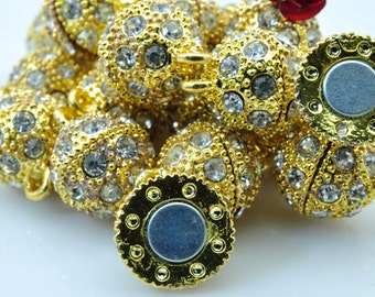 10 sets  of Gold plated Crystal Magnetic Clasp in 12mm