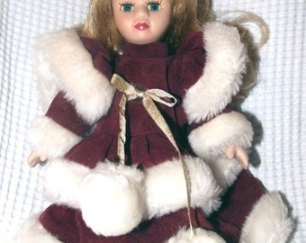 vintage bisque porcelain blonde doll with Christmas velvet outfit, 7.9 inch's tall