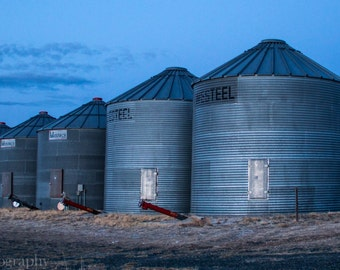 Blue Grain Silos - Montana Made Blank Greeting Card, 100% recycled paper