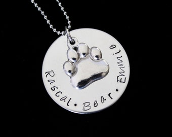 Pet names Hand stamped stainless steel pendant and necklace - Great for  animal lovers