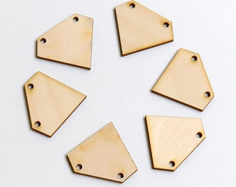 6 laser cut wood large gem. Unfinished wood. Jewelry supply.
