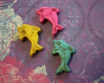 Dyed Howlite Dolphins