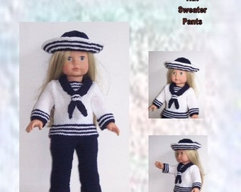 "Dolls clothes PDF knitting pattern for 18"" doll, pants, top, and hat, fits American Girl, Gotz, Our Generation and similar size dolls"