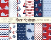 Baby Boy Nautical Digital Paper Pack - Red Blue Waves Anchors Whale - Mare Nostrum - Instant Download