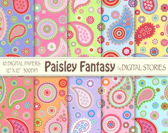 """Paisley Digital Paper: """"PAISLEY FANTASY 4"""" Scrapbook paper with colorful paisley for invites, cards, background"""