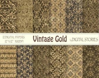 Vintage Gold Damask Black Digital Scrapbook Paper Pack - Instant Download