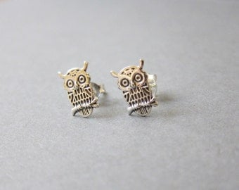 Tiny Sterling Silver Owl Stud Earrings, Dainty Earrings, Everyday Jewelry