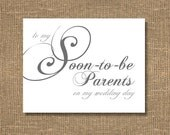 To My Soon To Be Parents on My Wedding Day - Wedding Card