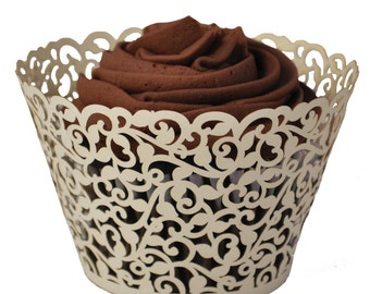 Ivory Lace Cupcake Wrappers - available in other colors as well (USA)