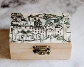 "Small wooden box ""Old street"" - Gift ideas, wedding decor, ring bearer box, jewelry box, black, ecofriendly, missvintagewedding"