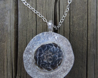 Oxidized Silver Pendant, Hammered Silver Disc Necklace