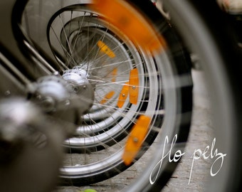 "Fine Art Photography, Bike Photography, Bicycle, Abstract photography, Wheels, Urban Landscape, Wall Art,  Print - Spiral. 8X10"" or 16x20"""