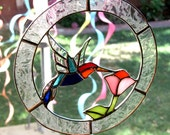 Multi-Colored Stained Glass Hummingbird and Flower Suncatcher