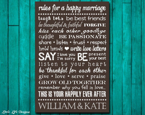 Rules For A Happy Marriage Sign Custom By Littlelifedesigns