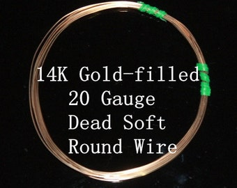 20 g ga Gauge 14k Gold-Filled Wire - Round - Dead Soft - sold by 6 inches increments (RW2002GF)