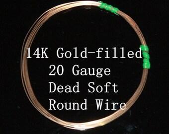 20 g ga Gauge 14k Gold-Filled Wire - Round - Dead Soft - sold by 2.5 feet increments (RW2002GF)