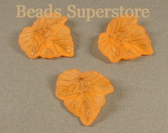 SALE 23 mm x 24 mm Orange Lucite Leaf Bead / Pendant - 10 pcs