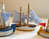 French Vintage Small Wooden Boats Set of 5