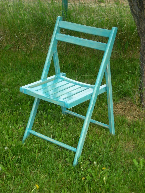 turquoise shabby chic wood folding chair