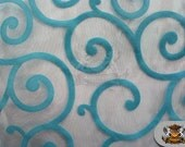 "Organza Flocking Swirl Fabric TURQUOISE / 58"" Wide / Sold by the yard"
