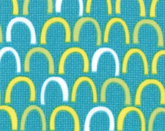 One Yard Oink A Doodle Moo - Rolling Hills in Turquoise - Cotton Fabric - by Jenn Ski for Moda (W211)