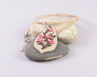 Polymer clay Cherry blossom branch necklace, polymer clay jewelry, polymer clay flowers, flower pendant, floral necklace, floran pendant