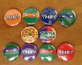 Teenage Mutant Ninja Turtle Buttons Set of 10 Finback Buttons, TMNT, Ninja Turtles