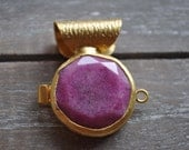 Gold Plated Metal Bezel with Faceted Jade Stone Pendant, Jewelry Findings, Crafting Supplies
