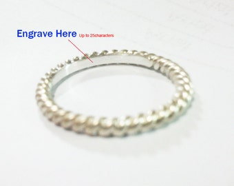 Custom-Engraved Sterling Silver Rope Ring All Sizes