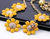 Sweet Rhinestone Bees Flower Necklace, J Crew Inspired Necklace, Bubble Bib Necklace, Yellow Statement Necklace, Holiday Party Necklace